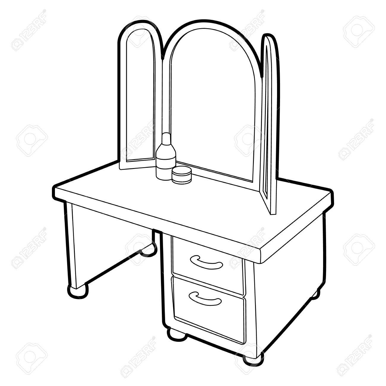 1300x1300 Dressing Table With A Mirror Icon. Isometric 3d Illustration