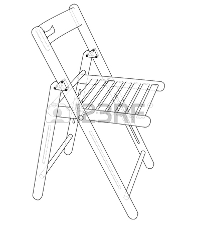 395x450 Folding Chair Sketch. Vector Rendering Of 3d. Wire Frame Style