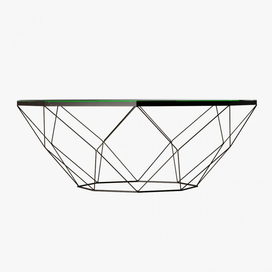 920x920 Geometric Antique Brass Coffee Table With Glass Top 3d Model
