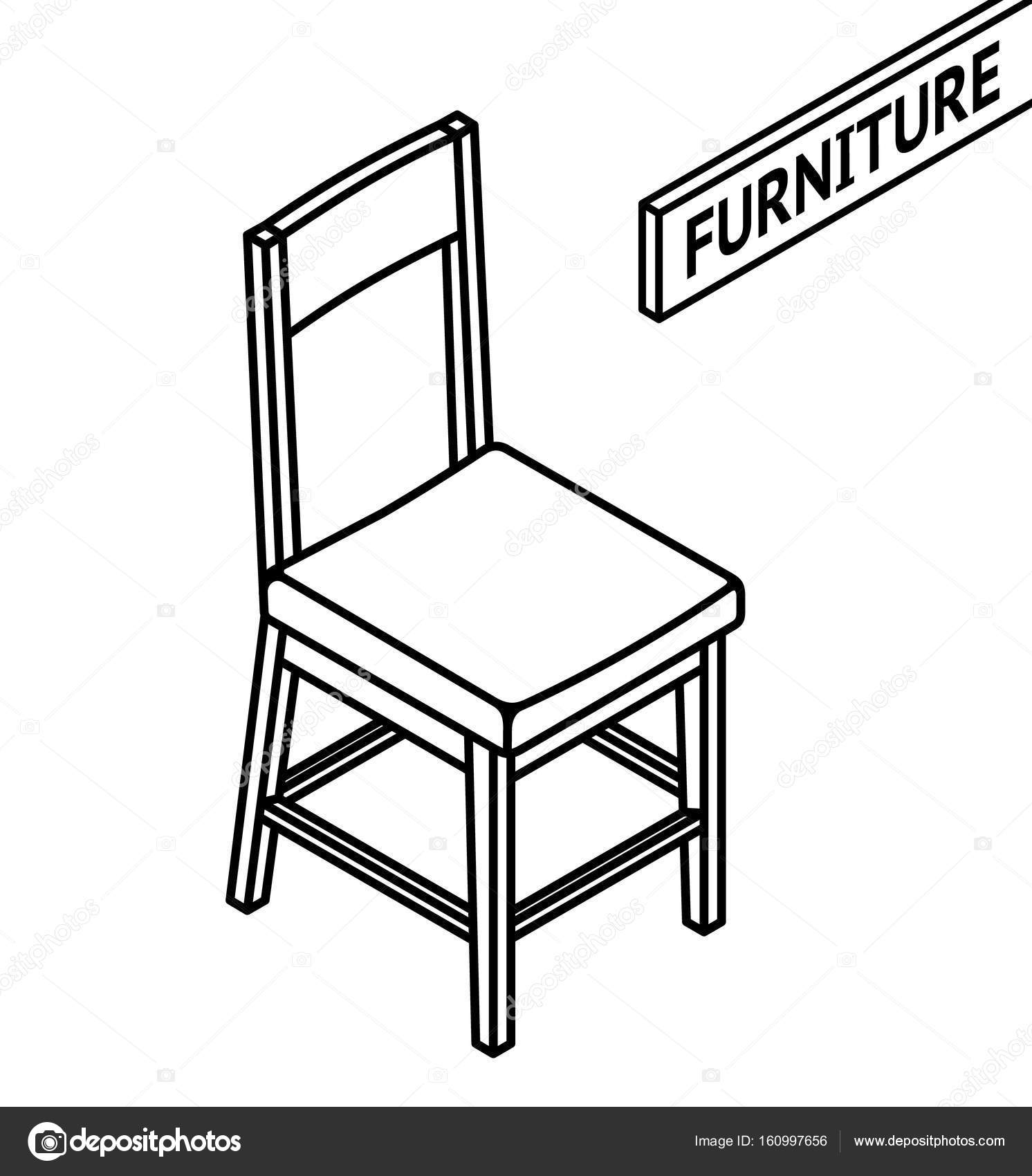 1492x1700 Isometric Outline Furniture. 3d Line Drawn Isometric Chair. White