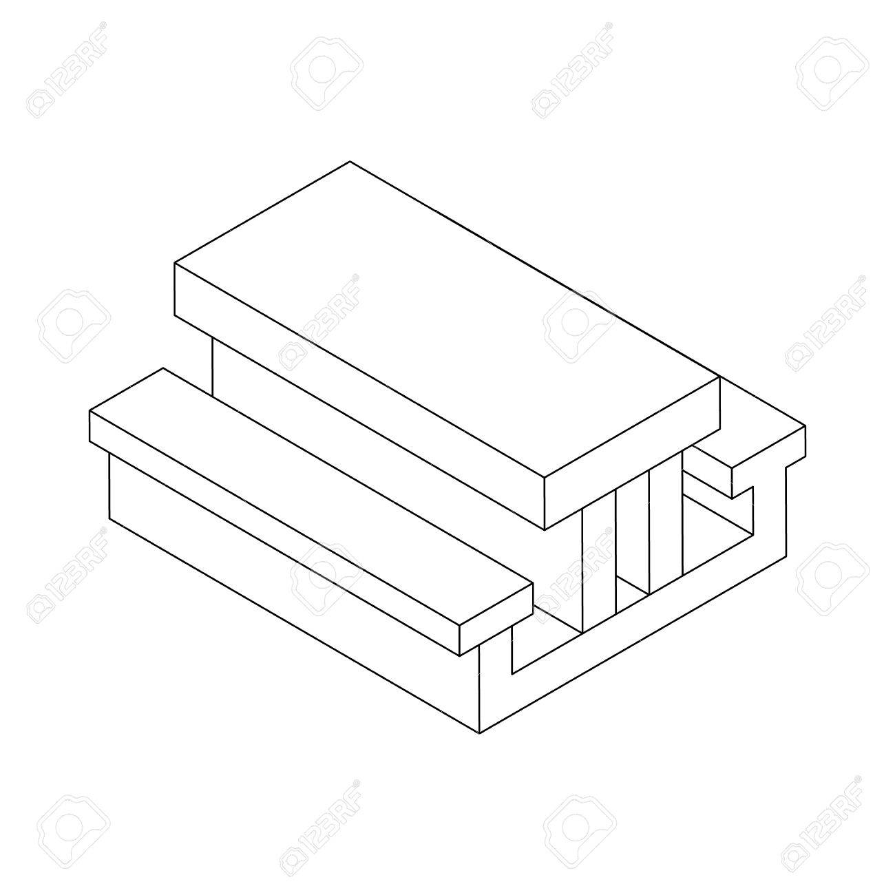 1300x1300 Picnic Table Icon In Isometric 3d Style On A White Background