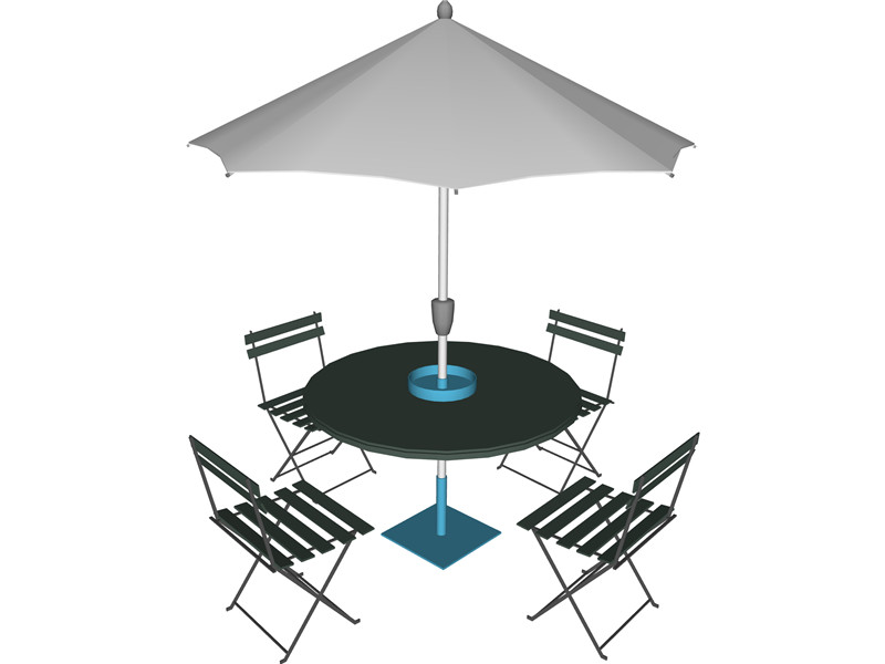 800x600 Table And Chairs With Beach Umbrella 3d Model