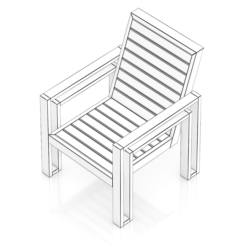 800x800 Wooden Chair 3d Model From Cgaxis