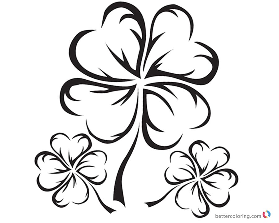 900x720 Four Leaf Clover Coloring Pages Realistic Black And White