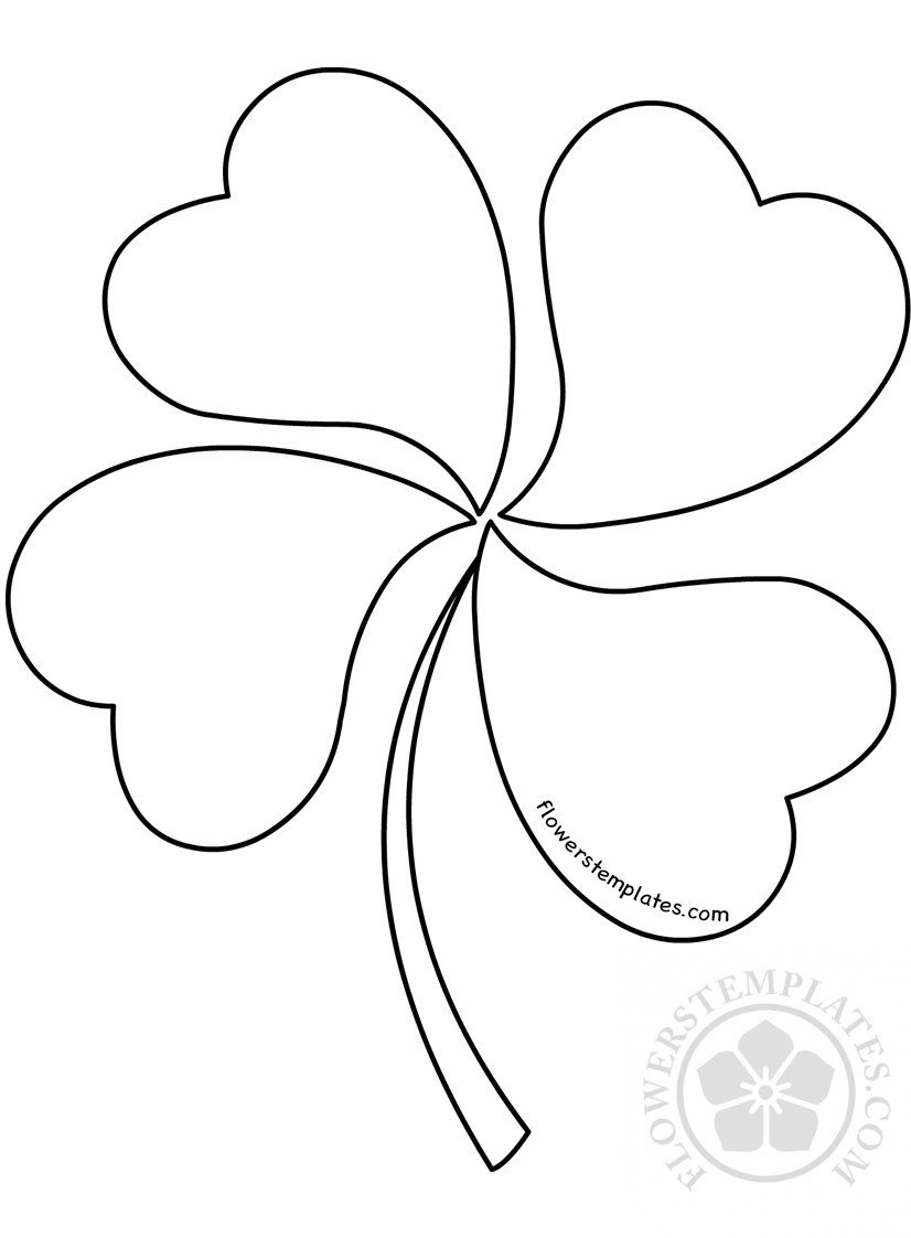 826x1122 Four Leaf Clover Pattern Coloring Page Flowers Templates