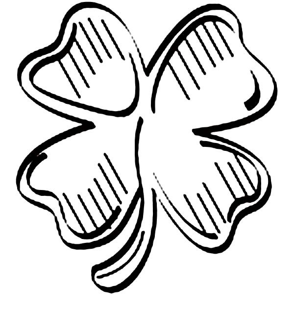600x680 Artistic Drawing Of Four Leaf Clover Coloring Page
