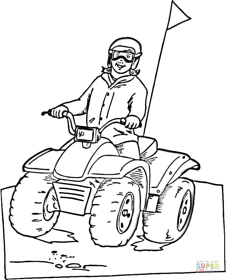 750x932 Four Wheeler Coloring Pages Snowmobile Page Free Printable Best