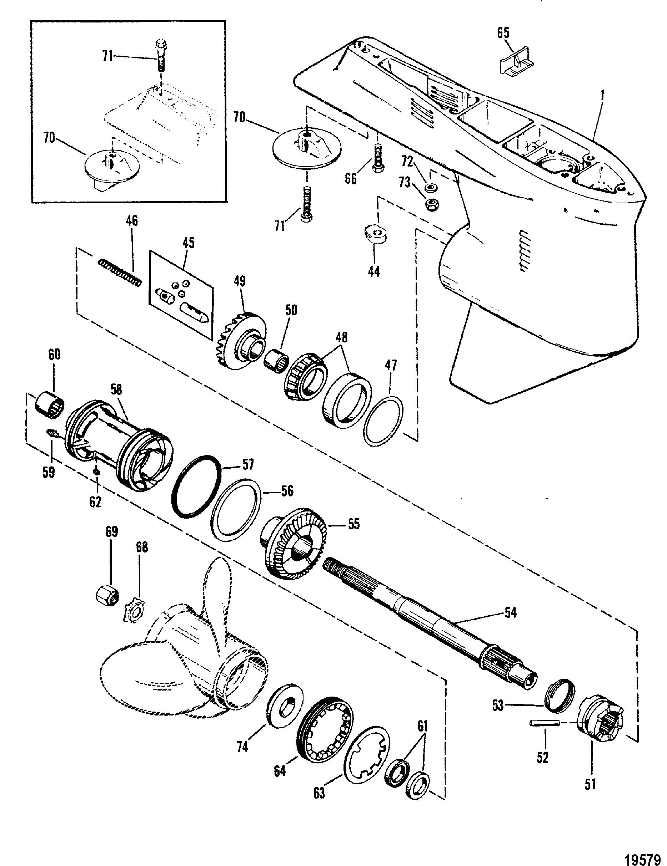 1868x2428 Gear Housing Propshaft Xr4magnum Ii For Mariner Mercury 135