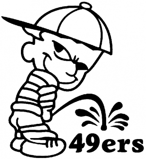 300x326 Pee On 49ers Car Or Truck Window Decal Sticker