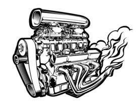 270x210 Line Art (Bampw) Vector Drawing Of A Supercharged Chevy Engine