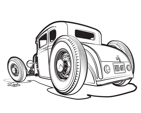 450x360 Old Muscle Car Cartoon Drawings The Line Art Drawing Above Was