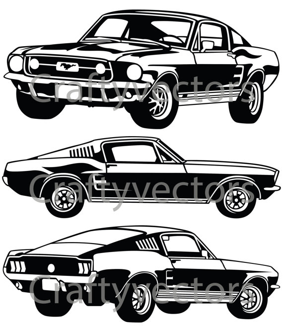 570x674 Ford Mustang 67 Gt Vector File