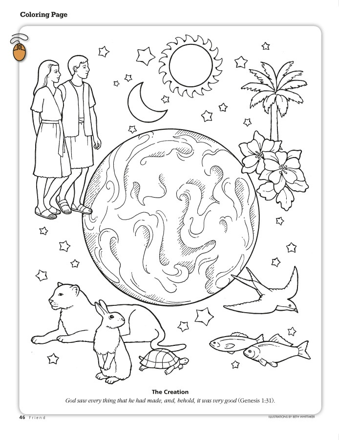 694x902 The Creation Coloring Page Depicting The Earth Adam And Eve