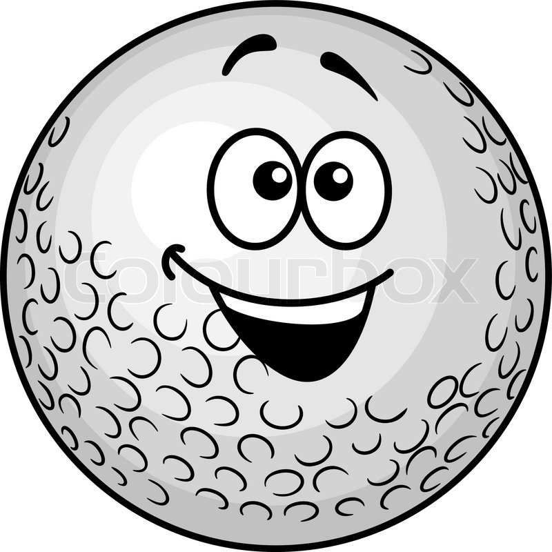 800x800 Funny Cartoon Smiling Golf Ball For Mascot Design Stock Vector