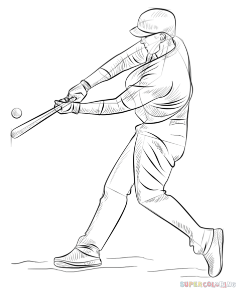 471x575 How To Draw A Baseball Player Hitting The Ball Step By Step