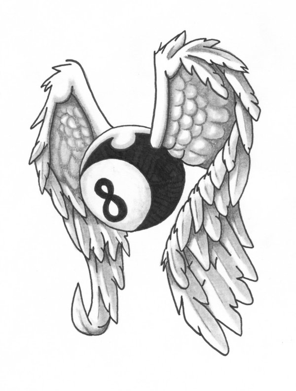 600x793 Winged 8 Ball By The Blind Artist