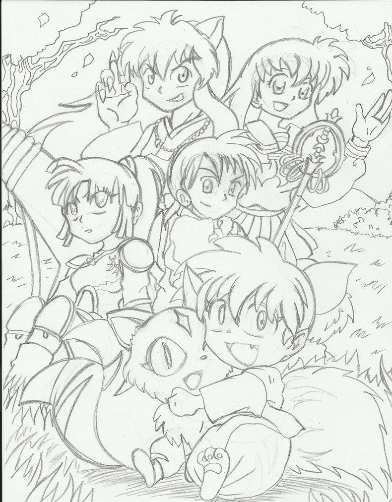 790x1012 Inuyasha Group Line Art By 8 Bit Britt
