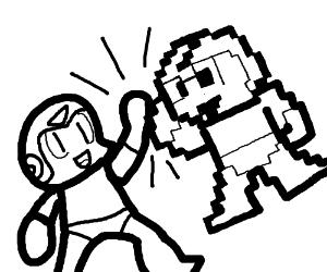 300x250 Megaman Hi Fives 8 Bit Megaman (Drawing By Brian90645)