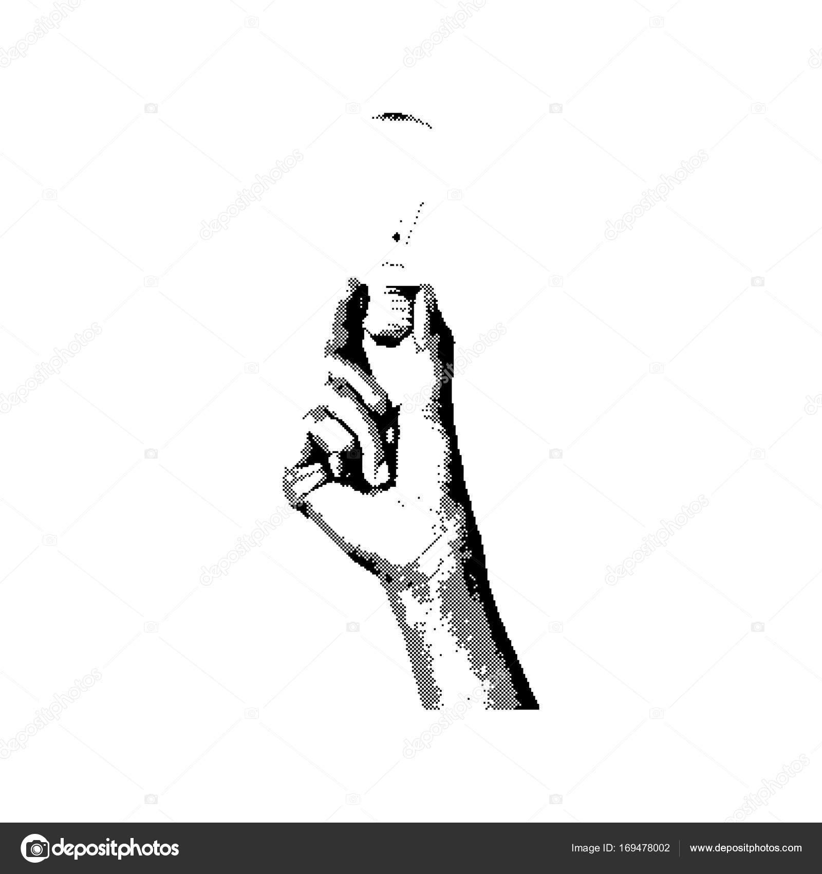 1600x1700 Black 8 Bit Right Hand Holding Bulb Vector Illustration Isolated