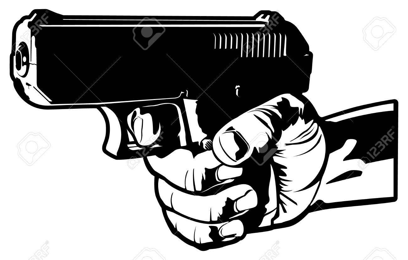 1300x827 Aiming A 9mm Handgun Vector Royalty Free Cliparts, Vectors,