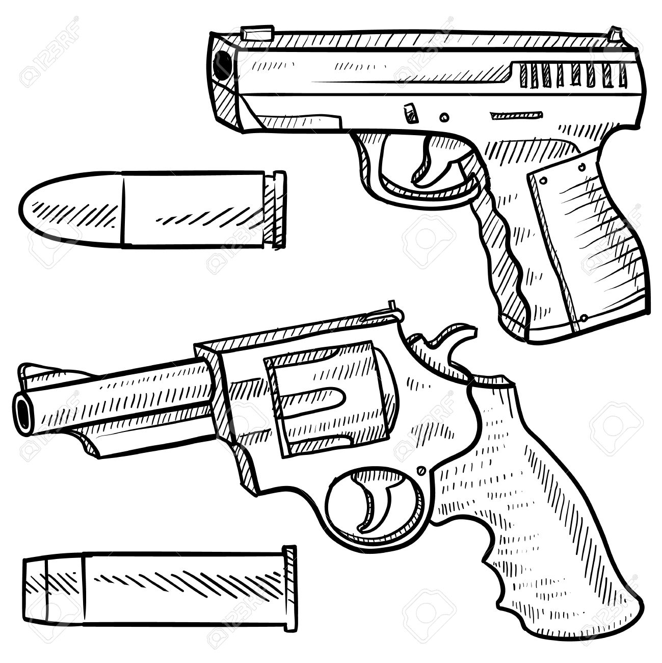 1299x1300 Doodle Style Pistol Or Handgun Sketch Including An Automatic