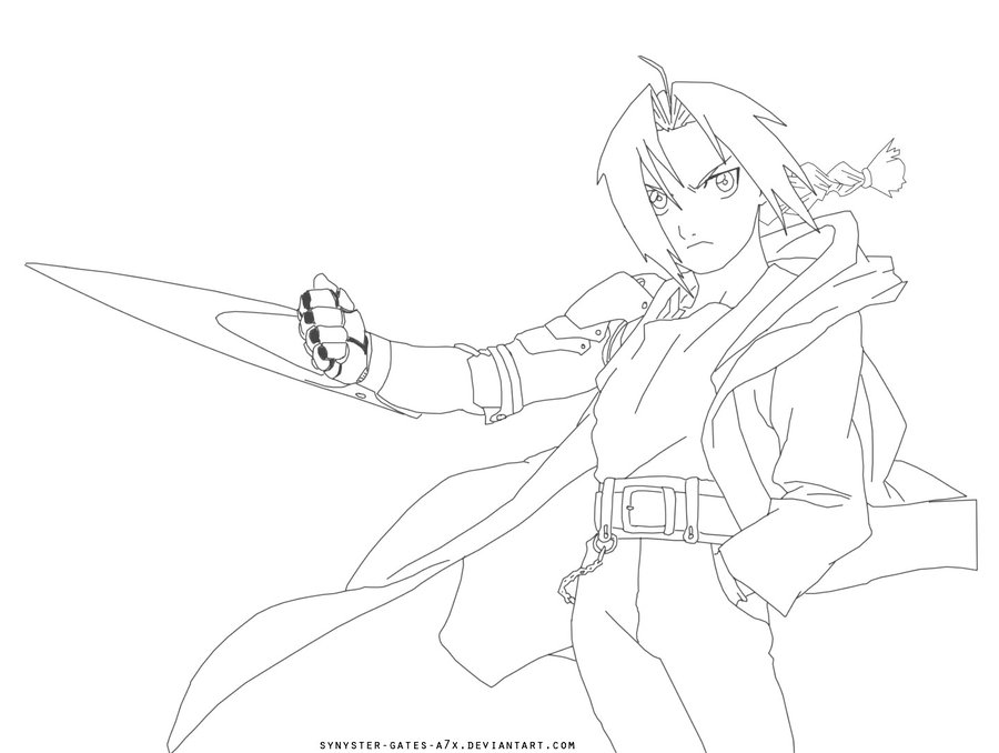900x678 Edward Elric Lineart By Synyster Gates A7x On Lineart