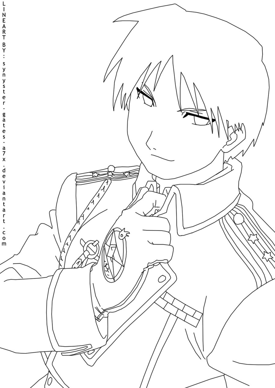 900x1270 Roy Mustang Lineart By Synyster Gates A7x On Lineart
