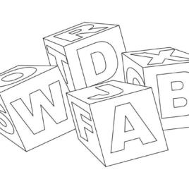 268x268 Alphabet Blocks Coloring Pages