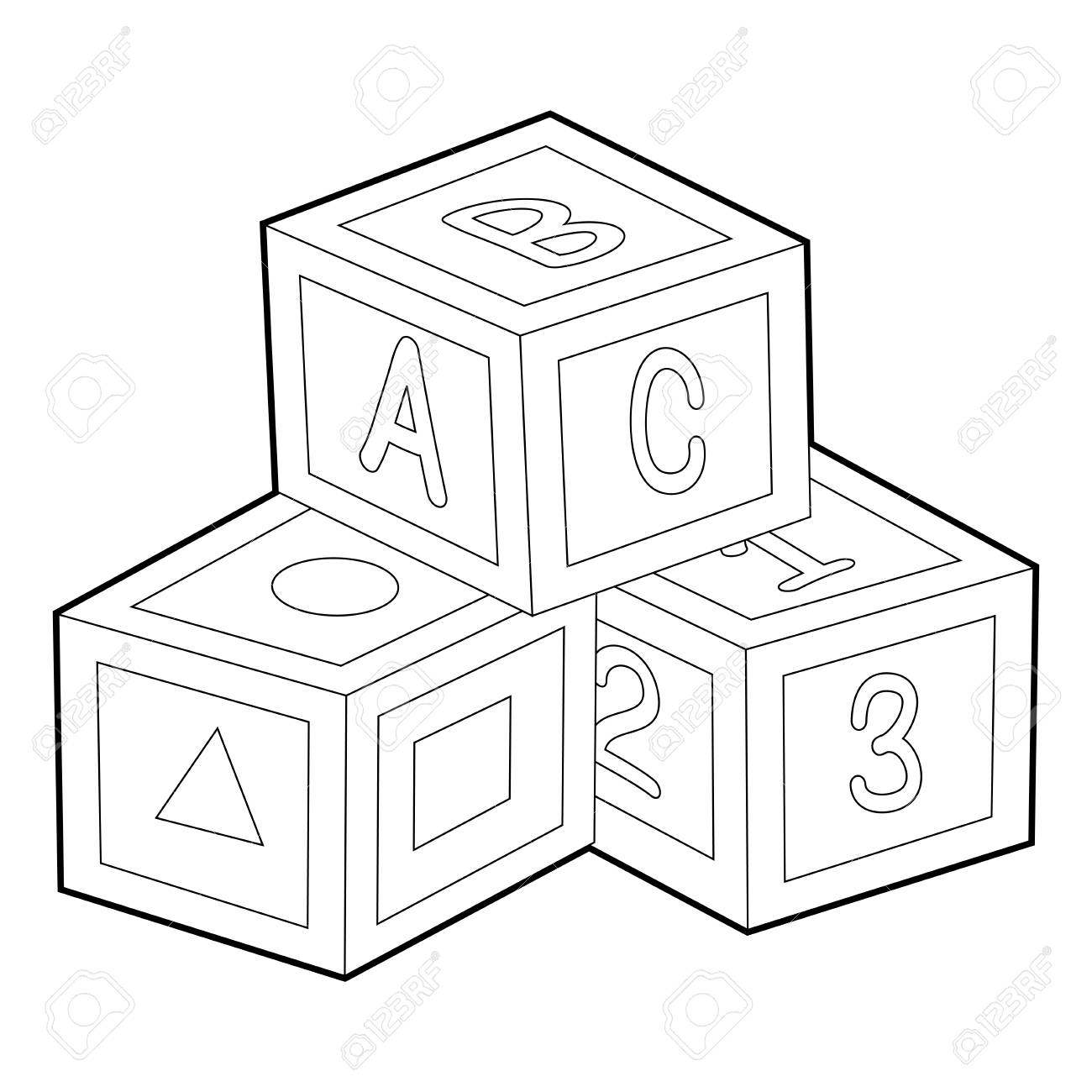 1300x1300 Coloring Book Outline Of Toy Blocks Royalty Free Cliparts, Vectors