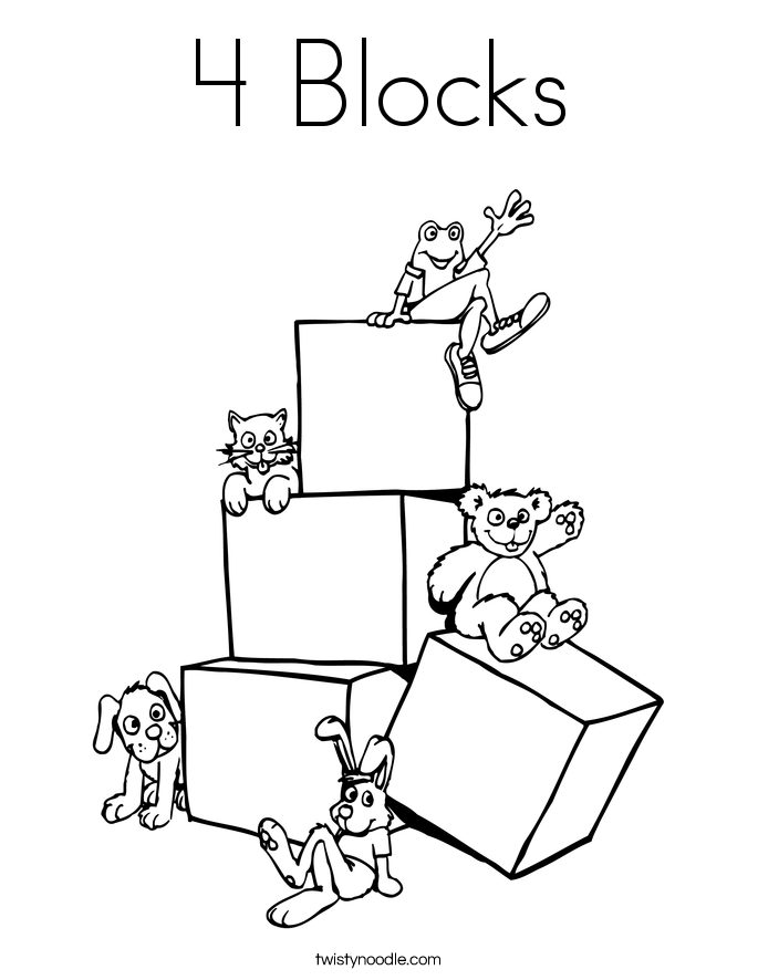 685x886 4 Blocks Coloring Page