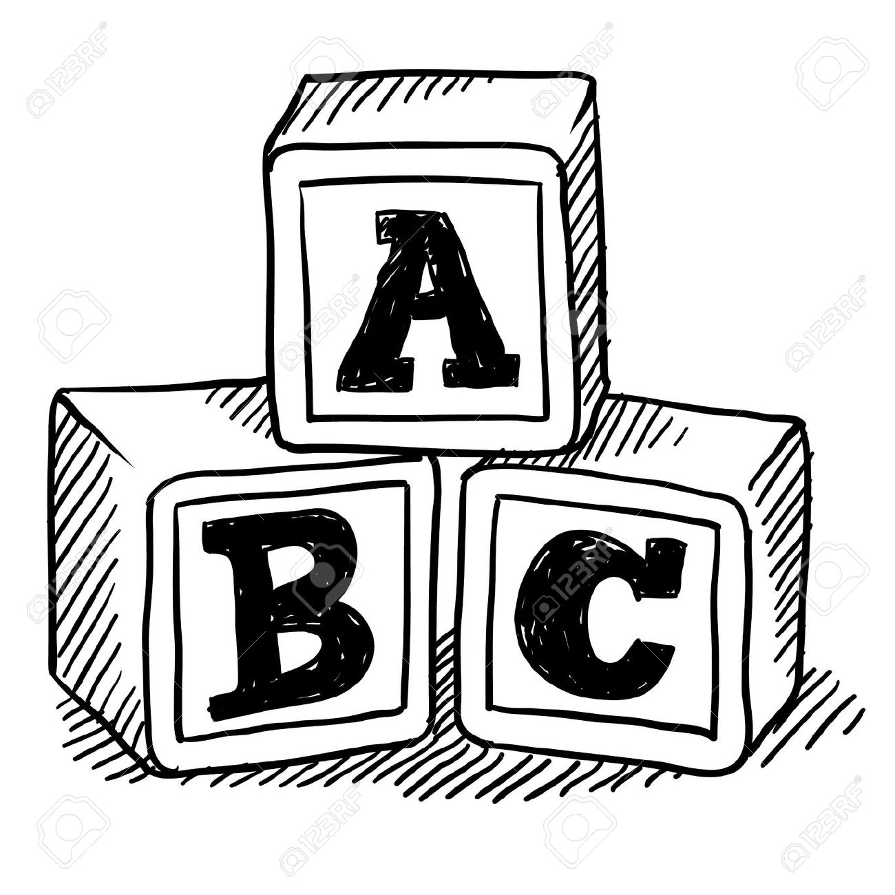 1300x1300 Doodle Style Children's Block Toys With Alphabet On Them In Vector