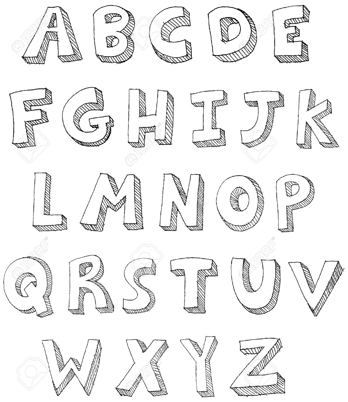 1126x1300 Hand Drawn Abc Letters Royalty Free Cliparts, Vectors, And Stock