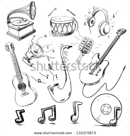 450x470 Musical Instruments And Icons Collection. Hand Drawing Sketch