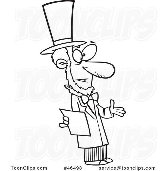 581x600 Cartoon Black And White Abraham Lincoln Giving A Speech