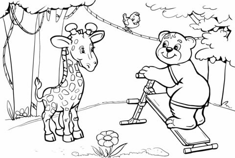 480x323 Giraffe And Bear Want To Do Abs Workout Coloring Page Free
