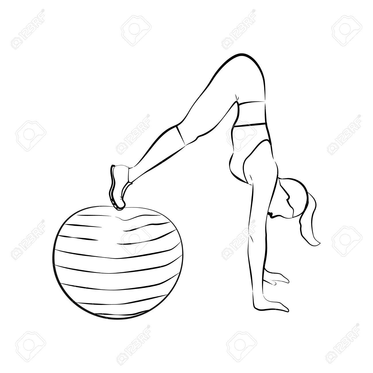1300x1300 White Silhouette Of Woman Doing Abs Exercises On Fitball. Healthy