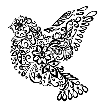 380x400 Abstract Bird Isolated On White Hand Drawing Vector 1087525