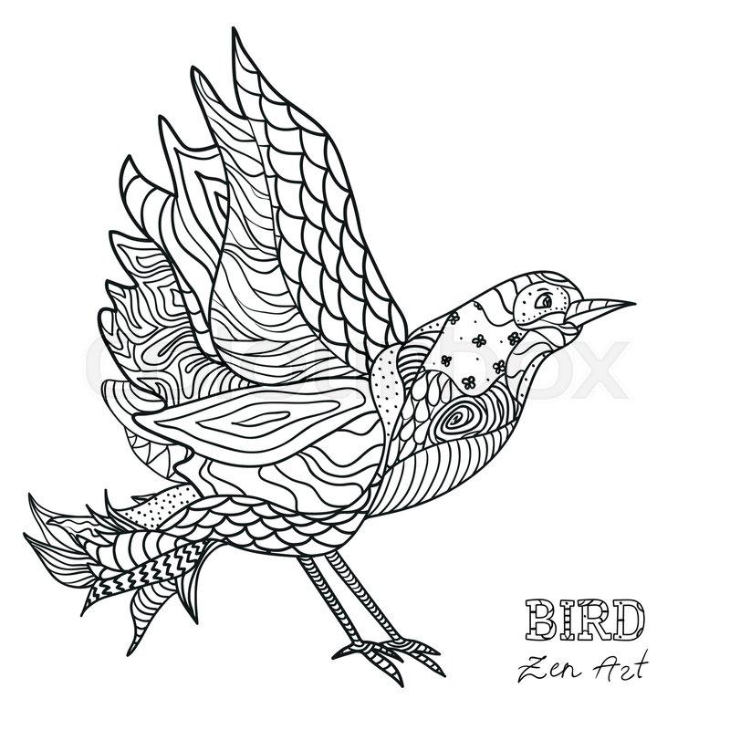 800x800 Bird. Zen Art. Design Zentangle. Hand Drawn Bird With Abstract