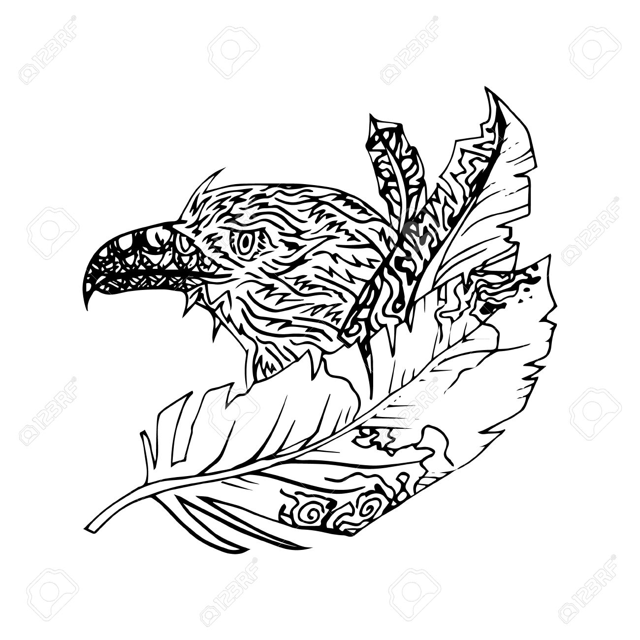 1300x1300 Black And White Eagle Isolated. Engraving Sketch. Abstract Vector