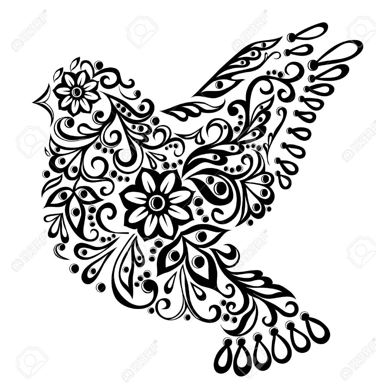 1253x1300 Abstract Bird, Isolated On White Hand Drawing Royalty Free