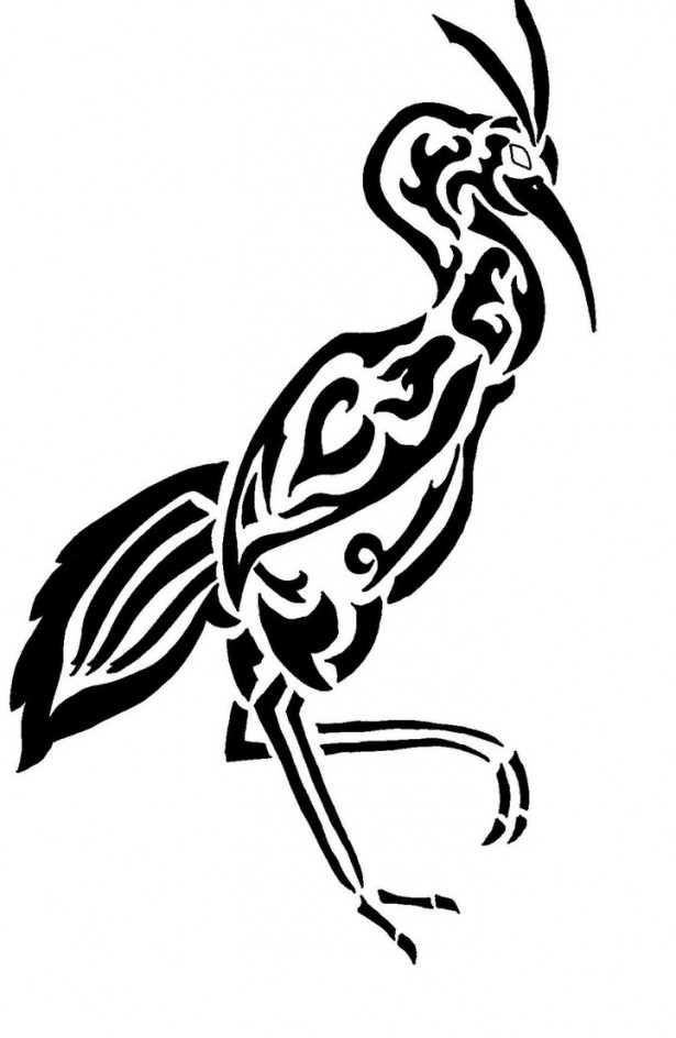 615x944 Black Ink Tribal Bird Tattoo Stencil Birds Tribal
