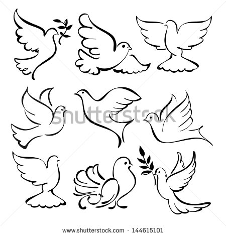 450x470 Dove bird sketch Abstract Flying Dove Sketch Set Vector