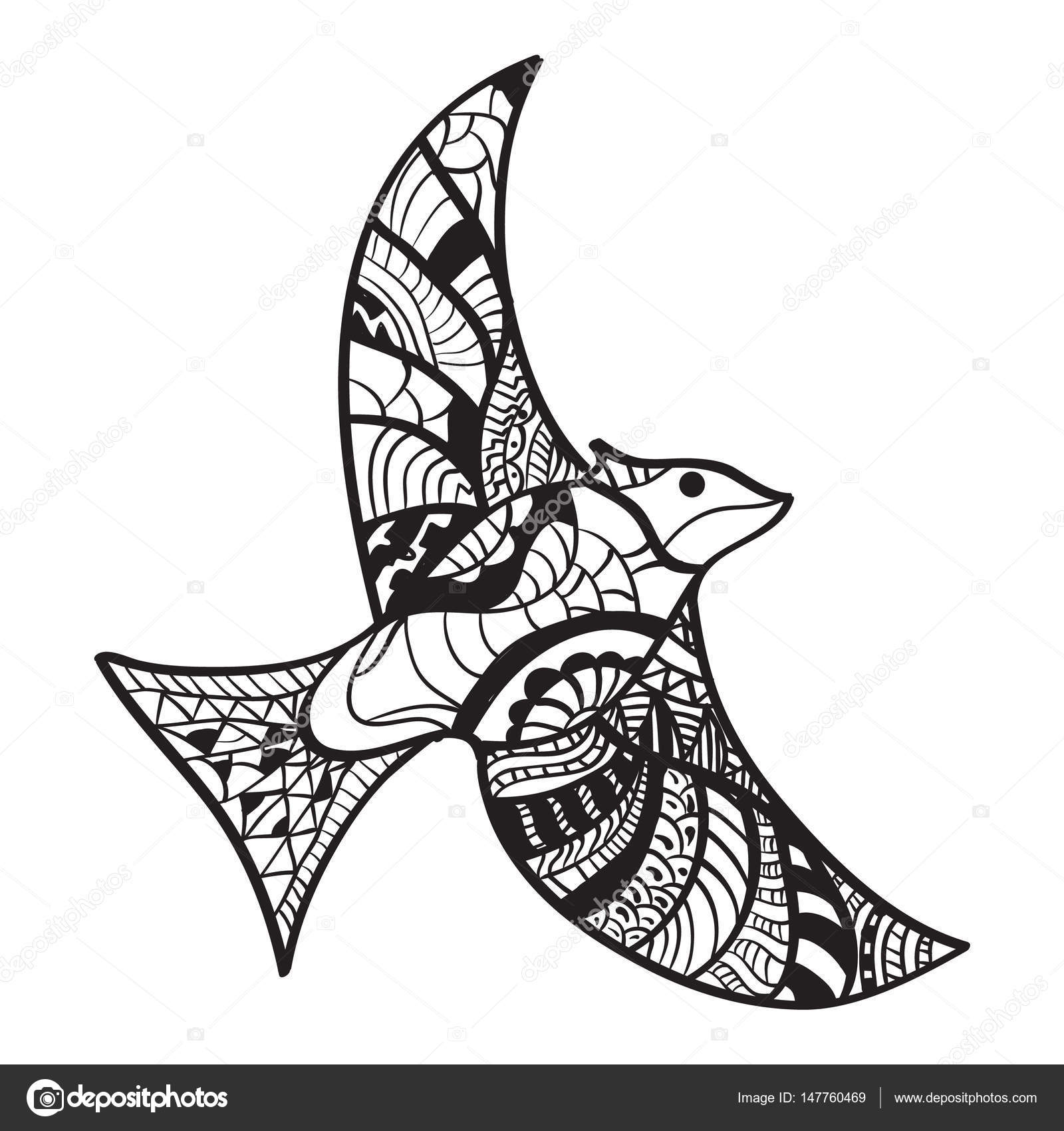 1600x1700 Ink Hand Drawn Outline Doodle Flying Bird Illustration Decorated