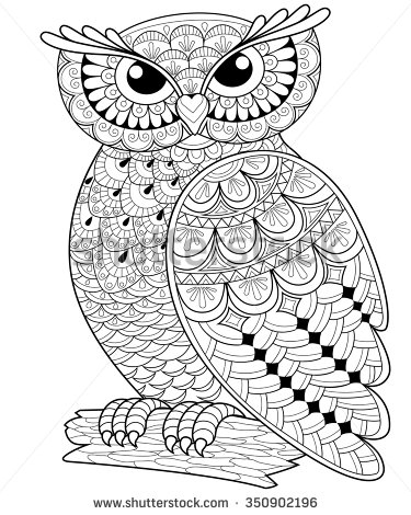 375x470 Owl Doodle Coloring Page