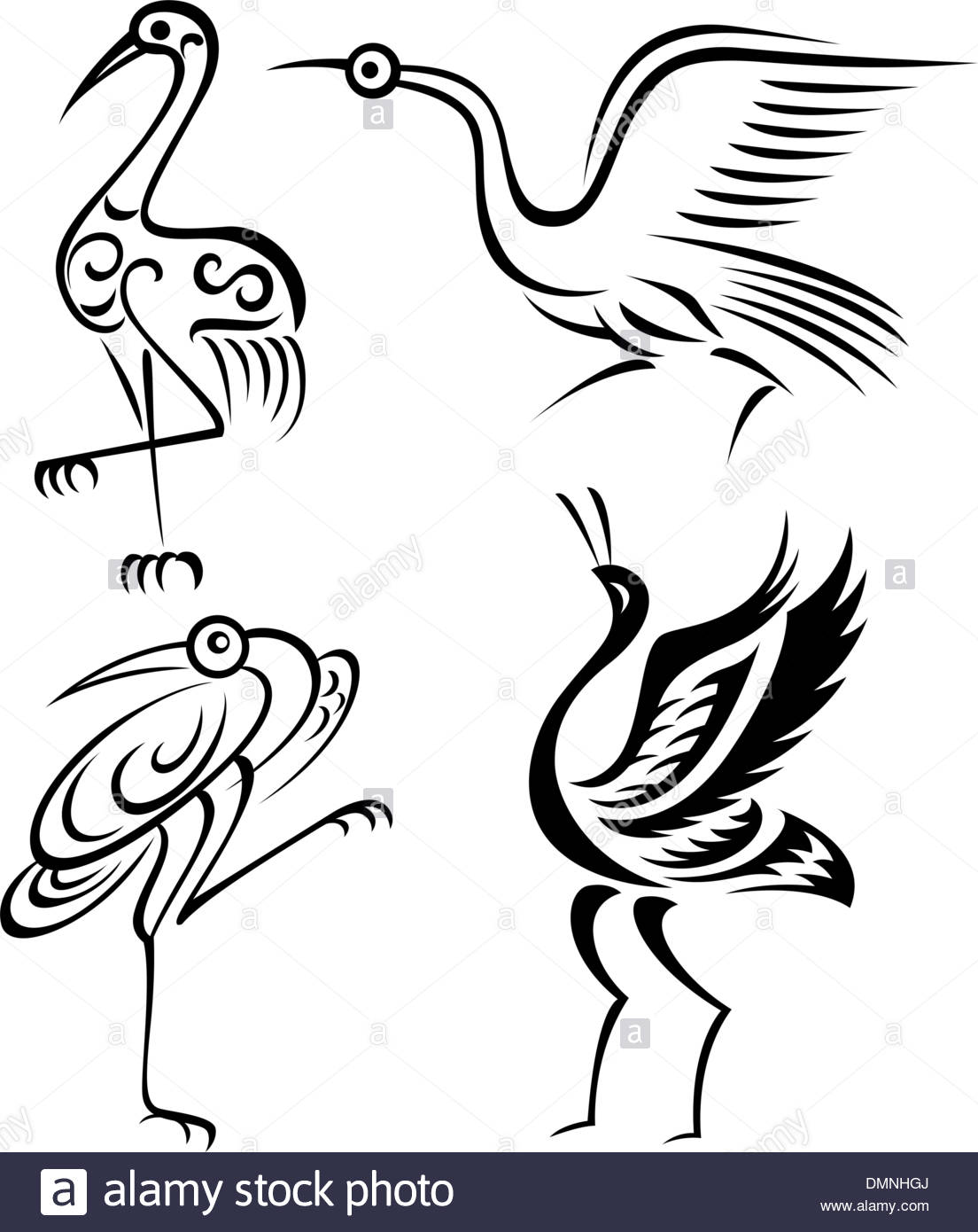 1104x1390 Abstract Crane Bird Tattoo Symbol Stock Vector Art Amp Illustration