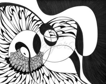 340x270 Wall Art Print Abstract Drawing Colored Pencil Art Bird
