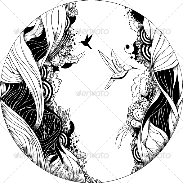 590x590 black and white ink sketch by vecster graphicriver