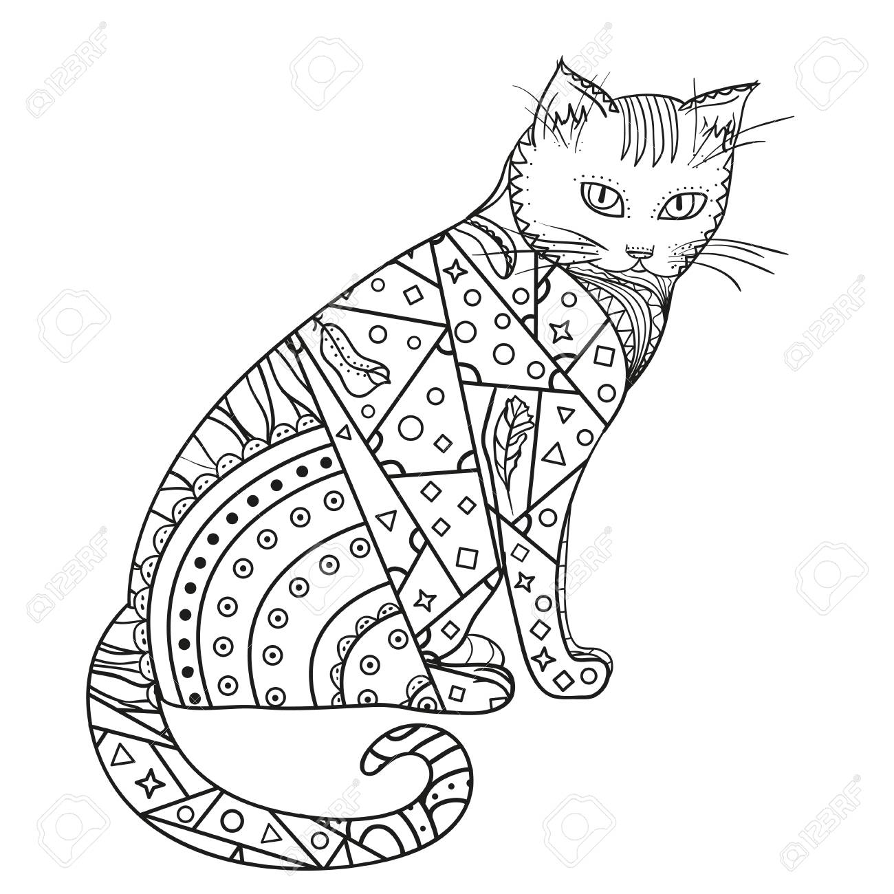 1300x1300 Cat Hand Drawn Cat With Abstract Patterns On Isolation Background