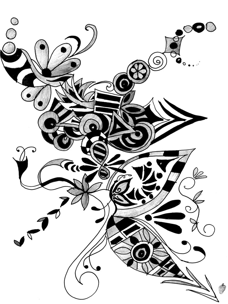 736x983 Abstract Art Design Black And White