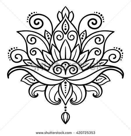 450x470 Vector, Abstract, Oriental Style, Flower, Lotus, Tattoo, Design
